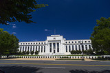 Federal Reserve Building amid polarized blue sky in Washington DC, USA