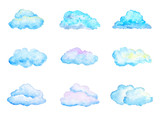 Set of Bright Blue Watercolor Clouds, Isolated on White, Hand Drawn and Painted - 91896363