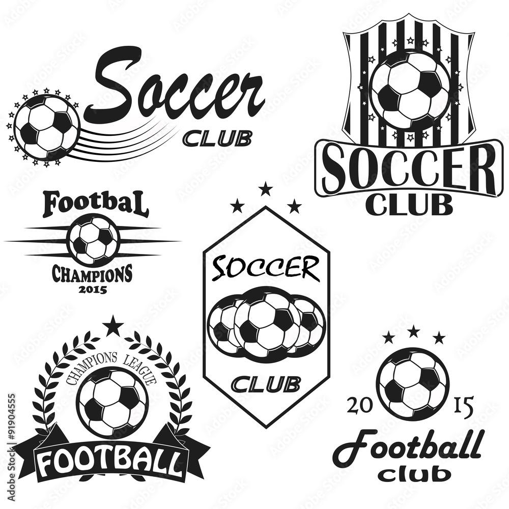 Design t shirt soccer - Soccer Football Badge Logo Design Templates Sport Team Identity Illustrations Of Soccer Themed T Shirt Graphics