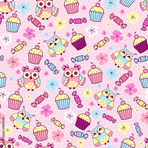 Papiers peints Hibou Seamless pattern with cute owls, cakes and chocolates on a pink background