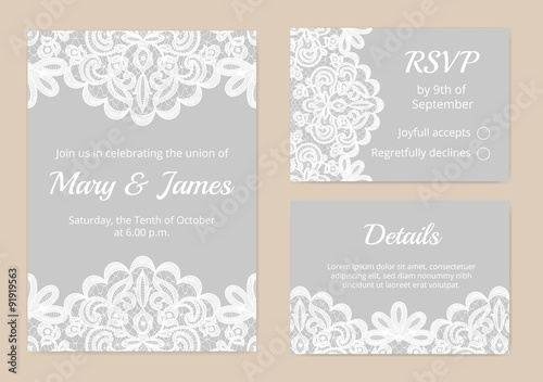 lace cards for wedding - 91919563