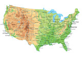 High detailed United States of America physical map with labeling. - 91935921
