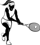 Vector illustration in the silhouette style of a girl tennis player hitting a tennis volley.