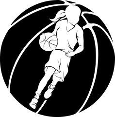 Girl dribbling a basketball inside a stylized basketball.