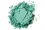 Green eye shadow make up broken on white background