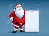 Merry Santa Claus standing with christmas greetings banner in