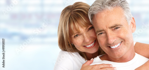 Elderly couple with white teeth. © Kurhan