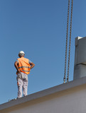 Worker on the concrete rigger poster