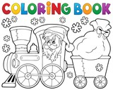 Fototapety Coloring book Christmas train 1