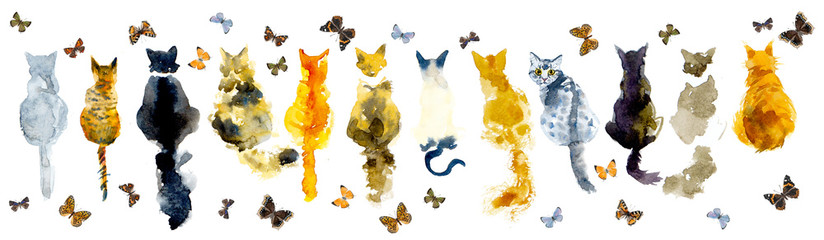 Cats and butterflies. Seamless border stripe. Watercolor hand drawn illustration © budogosh