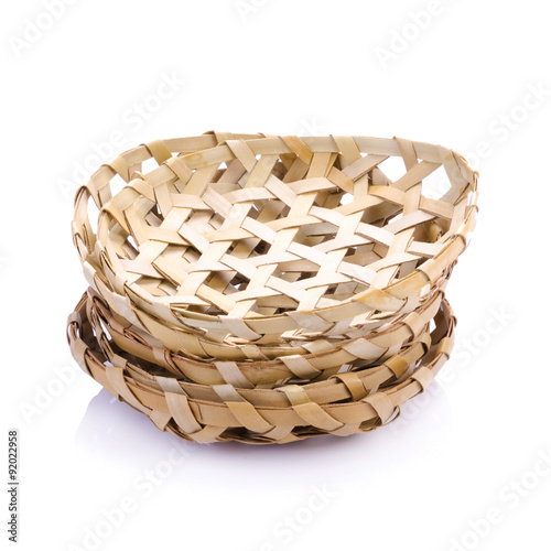 Poster bamboo basket isolated on white blackground