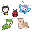 Vector illustration of cute cartoon insects garden animals