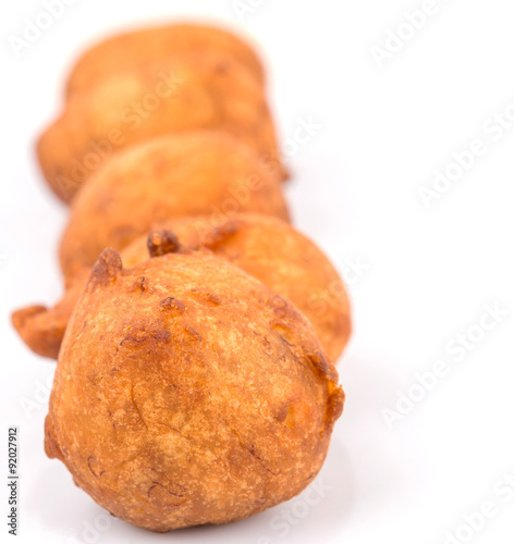 poster of Popular Malaysian fritter snack deep fried banana balls or locally known as Cekodok Pisang
