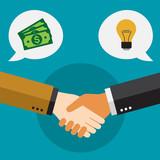 Apretón de manos de hombres de negocios. Inversor y creativo.
