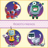 Robots friend, four cartoon character