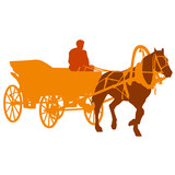 Fototapety Silhouette  horse and carriage  with coachman. Vector illustrati