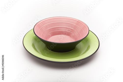 Piatti Vuoti Colorati Rosa E Verde Sfondo Bianco Buy Photos Ap