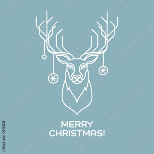 Fotobehang Hipster Hert Christmas deer. Line art. Vector illustration