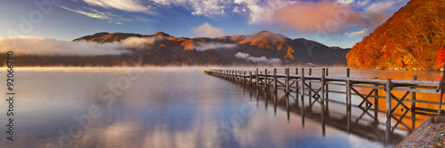 Aluminium Pier Jetty in Lake Chuzenji, Japan at sunrise in autumn
