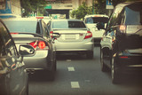 Really bad traffic congestion in the big city (Selective Focus) in vintage tone poster