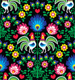 Seamless Polish folk art pattern with roosters - Wzory Lowickie, Wycinanka - 92072729