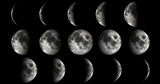 Phases of the moon from new to full. Elements of this image furnished by NASA