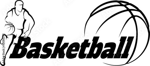 Fototapeta Basketball Drive to Basket with Stylized ball with word Basketba