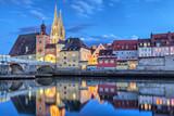 Fototapety Historical Stone Bridge and Bridge tower in Regensburg
