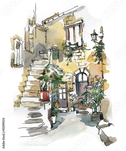 recznie-robiony-szkic-starej-ulicy-schody-gmach