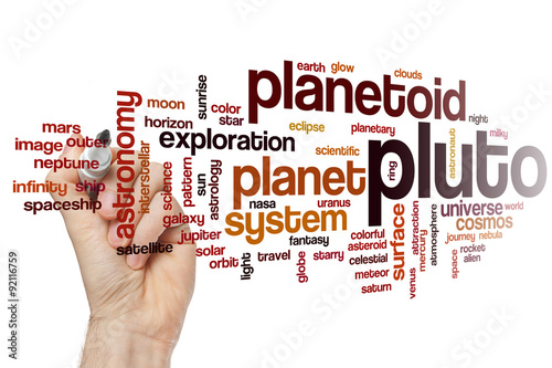 Poster Pluto word cloud concept