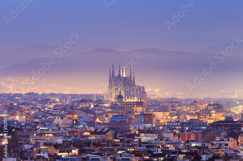 Keuken foto achterwand Barcelona Twilight top of view Barcelona
