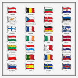 European Union country flags 2015, member states EU