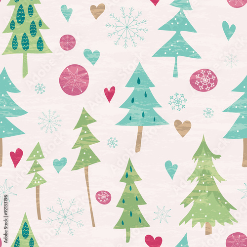 Materiał do szycia Christmas and New Year seamless pattern