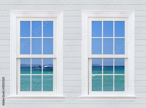 view seascape from wooden window and wall, pattaya city, thailan - 92153128