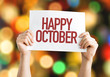 Happy October placard with bokeh background