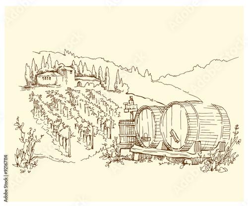 Naklejka Hand made sketch grape fields and vineyards.