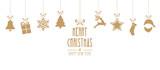 Fototapety christmas elements hanging gold isolated background