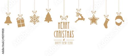 elementy świąteczne wiszące złoto na białym tle
