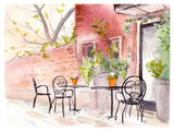 Street cafe. Retro design. Watercolor