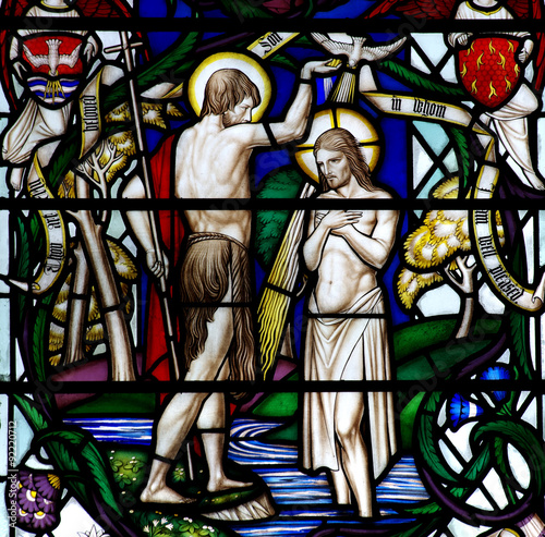 Plagát, Obraz Baptism of Jesus Christ (stained glass)