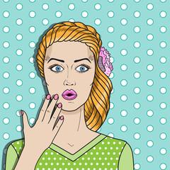 Pop art woman confused, red hair surprised woman. Comic woman vector.
