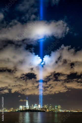 September 11 commemoration with the Tribute in Light, New York City Poster