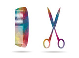 low poly icon colorful scissors and comb