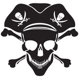 Pirate symbol Jolly Roger skull-vector