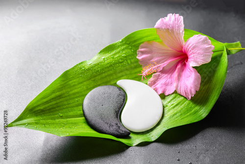 Foto op Plexiglas Spa beautiful spa concept of pink hibiscus flower and Yin-Yang of st