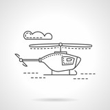 Flat line military copter vector icon poster