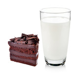 Glass of milk with Chocolate cake isolated on white