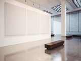 Fototapety Mockup of empty gallery with bench. 3d render