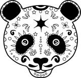 vector illustration of a black and white panda