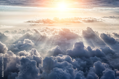 Beautiful blue sky background  - 92314330